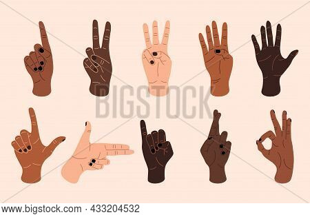 Female Hands. Contemporary Women Hands Showing Various Gestures, Diverse Skin Colors And Tones. Vect