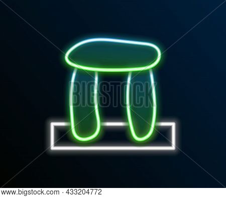 Glowing Neon Line Stonehenge Icon Isolated On Black Background. Colorful Outline Concept. Vector