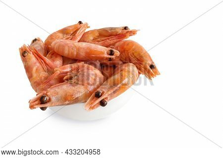 Shrimps In White Plate Isolated On White Background