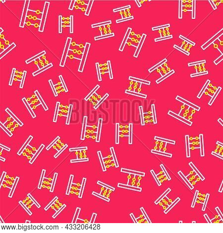 Line Abacus Icon Isolated Seamless Pattern On Red Background. Traditional Counting Frame. Education