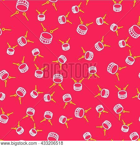 Line Drum With Drum Sticks Icon Isolated Seamless Pattern On Red Background. Music Sign. Musical Ins