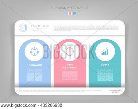Infographic Template Of Three Parts On Work Sheet, Flat Design Of Business Icon, There Are Words Suc