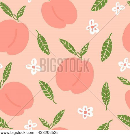 Peach Seamless Pattern Hand Drawn Doodle. Vector, Minimalism. Food, Fruit, Print, Wallpaper Textiles