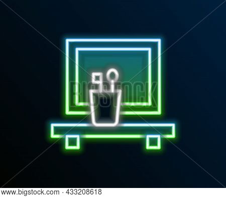 Glowing Neon Line Washbasin Mirror Icon Isolated On Black Background. Bathroom Interior With A Mirro