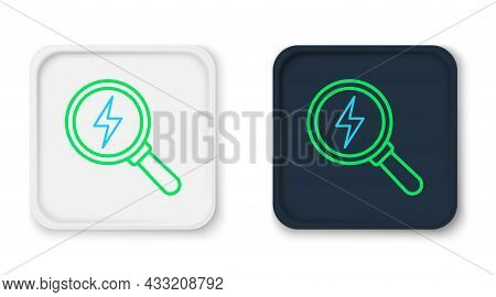 Line Magnifying Glass With Lightning Bolt Icon Isolated On White Background. Flash Sign. Charge Flas