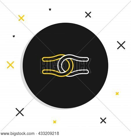 Line Rope Tied In A Knot Icon Isolated On White Background. Colorful Outline Concept. Vector
