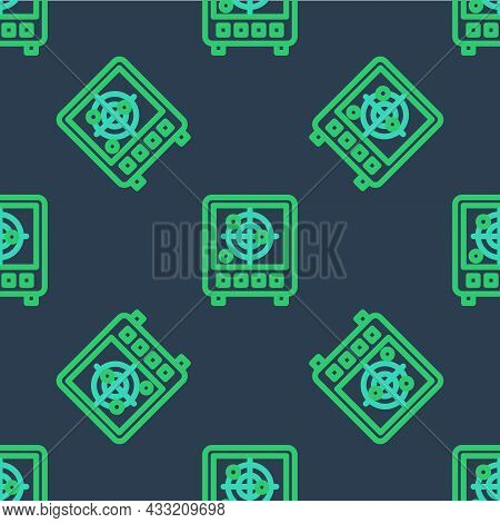 Line Radar With Targets On Monitor In Searching Icon Isolated Seamless Pattern On Blue Background. S