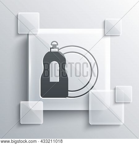 Grey Dishwashing Liquid Bottle And Plate Icon Isolated On Grey Background. Liquid Detergent For Wash