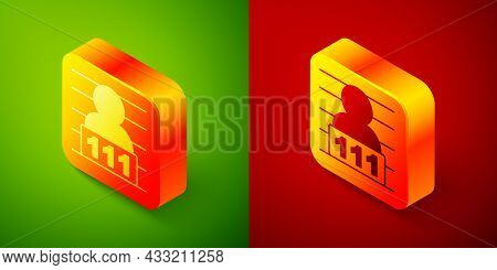 Isometric Suspect Criminal Icon Isolated On Green And Red Background. The Criminal In Prison, Suspec