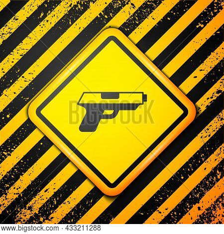 Black Pistol Or Gun Icon Isolated On Yellow Background. Police Or Military Handgun. Small Firearm. W
