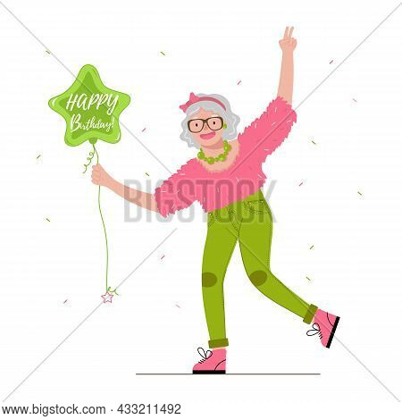 Cool fashion Old woman holds in her hand a balloon with the words Happy Birthday. Funny Grandmother in a flat style.