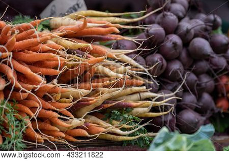 Vegetables And Root Vegetables For Sale At A Market In Borgholm On Swedish Baltic Sea Island
