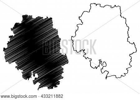 Bangalore Urban District (karnataka State, Republic Of India, Bangalore Division) Map Vector Illustr