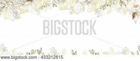 Luxurious Golden Wallpaper. Floral Frame. White Background And Beautiful Golden Leaves On Top Of The