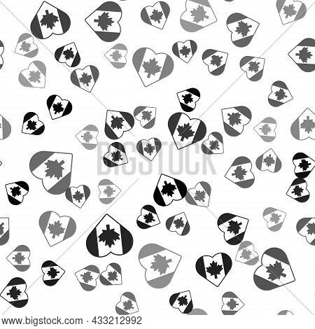 Black Heart Shaped Canada Flag Icon Isolated Seamless Pattern On White Background. Love Canada Symbo