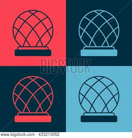 Pop Art Montreal Biosphere Icon Isolated On Color Background. Vector