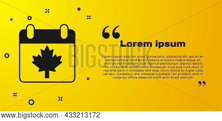 Black Canada Day With Maple Leaf Icon Isolated On Yellow Background. 1-th Of July Independence Day O