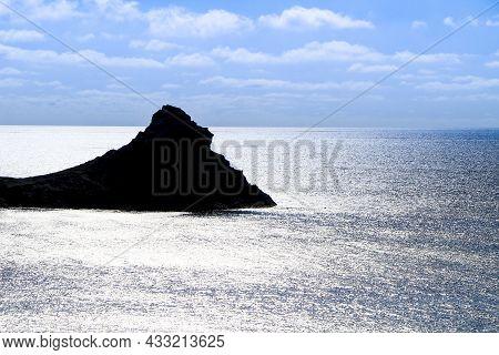 Silhouette Of Little Islet Of Siren Reef In Cabo De Gata-nijar Natural Park, Almeria, Spain.