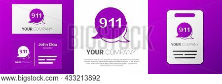 Logotype Telephone With Emergency Call 911 Icon Isolated On White Background. Police, Ambulance, Fir
