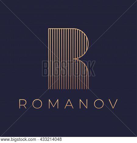 Luxury Style Letter R Vector Logo Design.