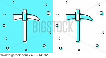 Black Line Pickaxe Icon Isolated On Green And White Background. Random Dynamic Shapes. Vector