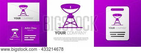 Logotype Satellite Dish Icon Isolated On White Background. Radio Antenna, Astronomy And Space Resear