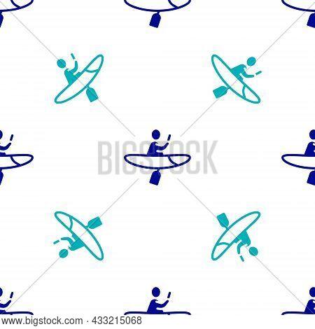 Blue Kayak And Paddle Icon Isolated Seamless Pattern On White Background. Kayak And Canoe For Fishin