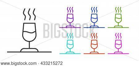 Black Line Wine Tasting, Degustation Icon Isolated On White Background. Sommelier. Smells Of Wine. S