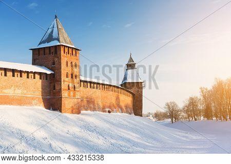 Novgorod Kremlin In Cold Snowy Day In Veliky Novgorod