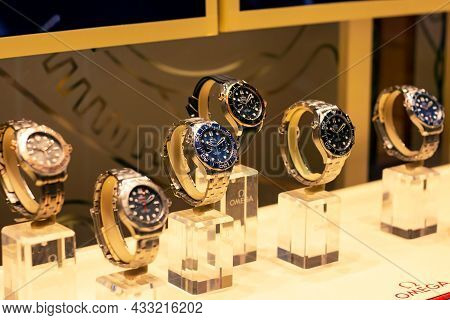 Moscow, Russia - August 10, 2021: Omega Watches Brand Retail Shop Display Window In The Shopping Mal