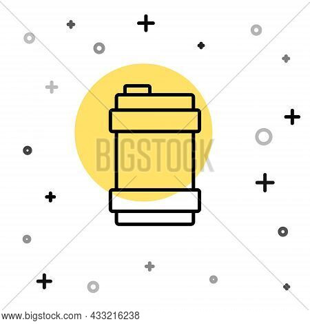 Black Line Metal Beer Keg Icon Isolated On White Background. Random Dynamic Shapes. Vector