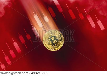 Gold Bitcoin Decreasing Value And Price Fall, Candle Stick Graph Chart Downtrend And Red Color Backg