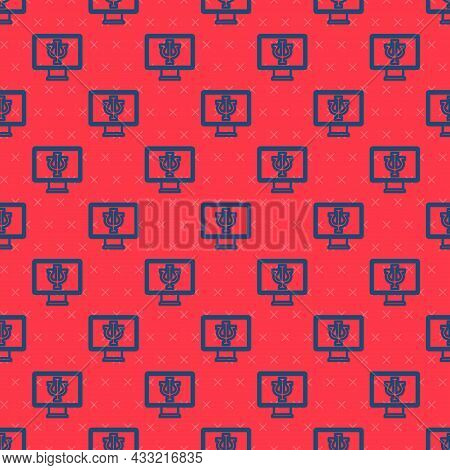 Blue Line Online Psychological Counseling Distance Icon Isolated Seamless Pattern On Red Background.