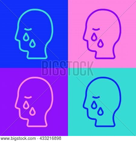 Pop Art Line Man Graves Funeral Sorrow Icon Isolated On Color Background. The Emotion Of Grief, Sadn