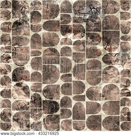 Seamless Grungy Abstract Archway Pattern Design For Print