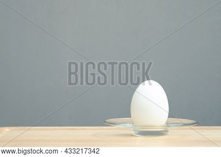 Boiled Eggs. Boiled Eggs In Plate On Wooden Table.