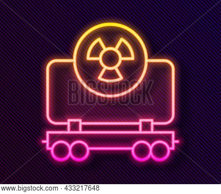 Glowing Neon Line Radioactive Cargo Train Wagon Icon Isolated On Black Background. Freight Car. Rail