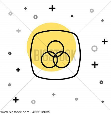 Black Line Rgb And Cmyk Color Mixing Icon Isolated On White Background. Random Dynamic Shapes. Vecto