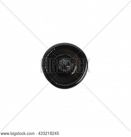 Unpacked Black Condom Isolated On White, Top View. Safe Sex
