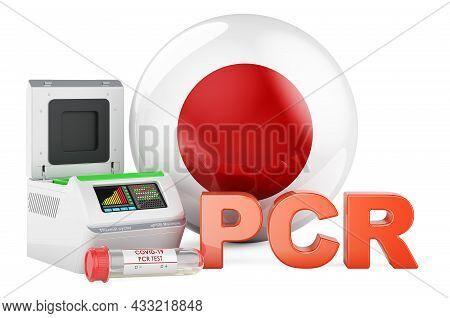 Pcr Test For Covid-19 In Japan, Concept. Pcr Thermal Cycler With Japanese Flag, 3d Rendering Isolate