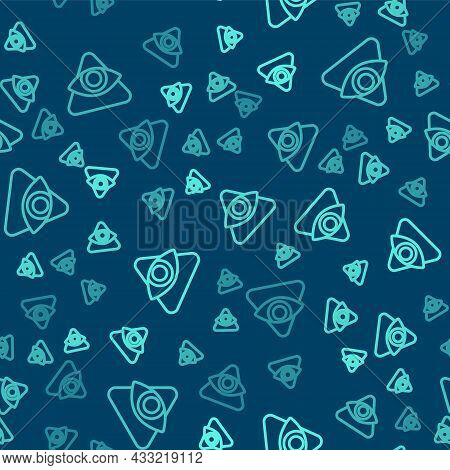 Green Line Masons Symbol All-seeing Eye Of God Icon Isolated Seamless Pattern On Blue Background. Th