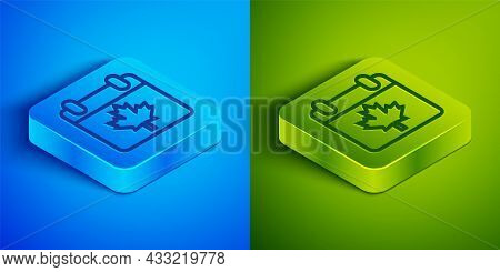 Isometric Line Canada Day With Maple Leaf Icon Isolated On Blue And Green Background. 1-th Of July I
