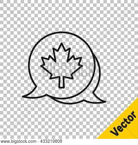 Black Line Canadian Maple Leaf Icon Isolated On Transparent Background. Canada Symbol Maple Leaf. Ve