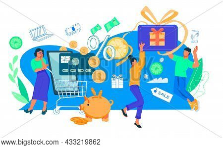 Cashback Reward And Money Saving Programs For Loyal Customers. E-commerce And Payments Transferring