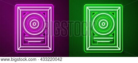 Glowing Neon Line Cd Disk Award In Frame Icon Isolated On Purple And Green Background. Modern Ceremo