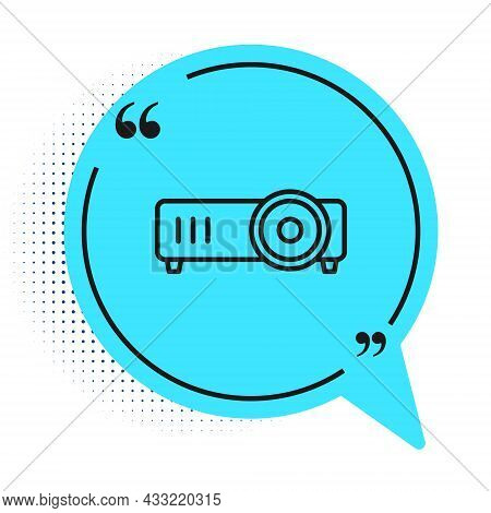 Black Line Presentation, Movie, Film, Media Projector Icon Isolated On White Background. Blue Speech