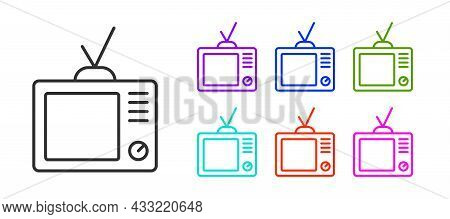 Black Line Retro Tv Icon Isolated On White Background. Television Sign. Set Icons Colorful. Vector