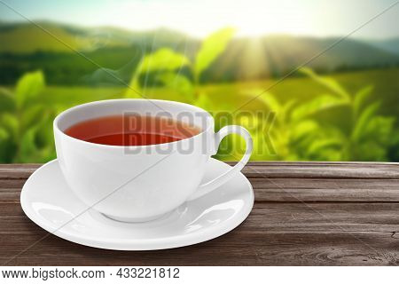 Cup Of Hot Freshly Brewed Rooibos Tea On Wooden Table Outdoors