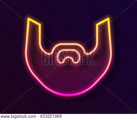 Glowing Neon Line Mustache And Beard Icon Isolated On Black Background. Barbershop Symbol. Facial Ha