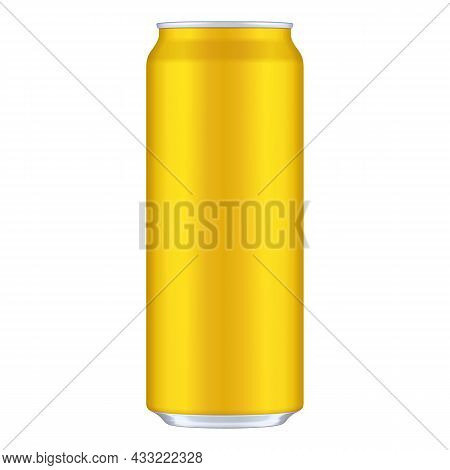 Mockup Yellow Metal Aluminum Beverage Drink Can 500ml. Template Ready For Your Design. Illustration